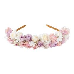 Haarreif mit Blumen in Weiss/Rosé/Flieder