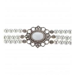 Kropfkette mit weissen Perlen
