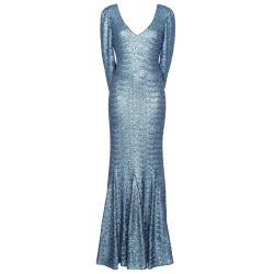 Abendkleid mit Cape in Eisblau