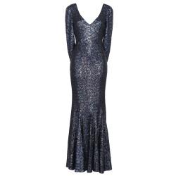 Abendkleid mit Cape in Nachtblau
