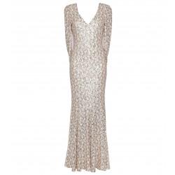 Kleid mit Cape in Gold-Weiss