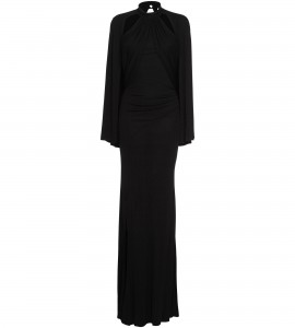 Jersey-Abendrobe mit Cut-Outs in Schwarz
