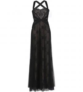 Bodenlanges Trägerkleid aus schwarzer Spitze