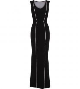 Robe mit transparentem Rückendekolleté in Schwarz