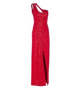 Paillettenrobe mit Cut-Outs in Rot