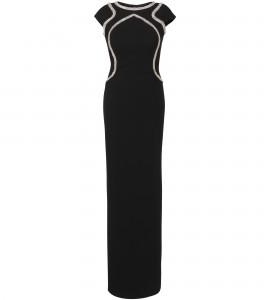 Maxikleid in Schwarz mit Bestickung