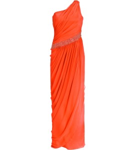 Asymmetrisches Toga-Kleid in Orange
