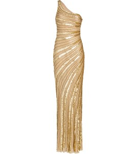 Asymmetrisches Abendkleid in Gold
