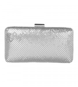 Clutch aus Mesh in Silber