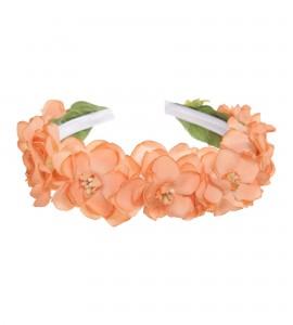 Haarkranz mit Seidenblumen in Apricot