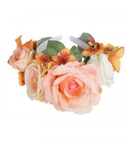 Großer Blumenkranz aus Stoff-Rosen