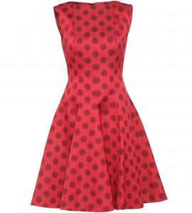 Cocktailkleid mit großen Polka Dots in Rot