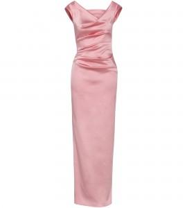 Kleid aus Stretch-Satin in Rosé