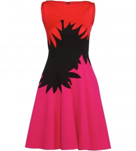 Tricolor Cocktailkleid in Pink/Rot