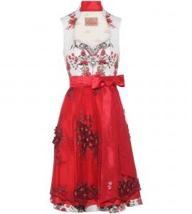 Dirndl mit Blumen in Weiss/Rot