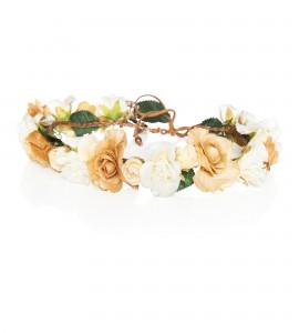 Blumen-Haarband aus cremefarbenen Blüten