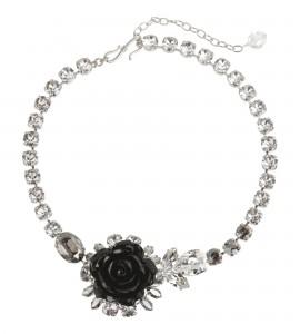 Collier mit Rose in Schwarz
