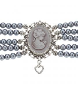 5-Reihige Kropfkette in Grau-Silber