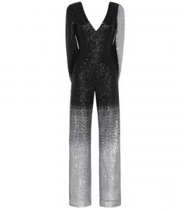 Jumpsuit mit Cape in Silber/Schwarz
