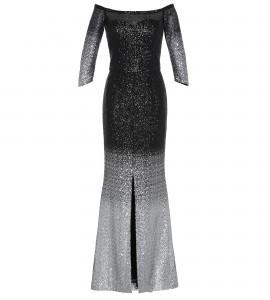Paillettenkleid mit schwarz-silber Verlauf