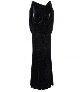 Schwarzes Samtkleid mit Cut-Outs und Glitter-Finish