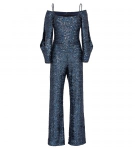 Spaghetti-Träger Jumpsuit in Holo-Blue