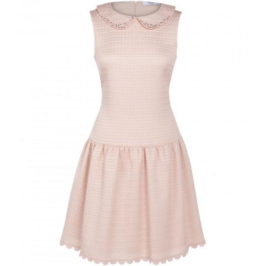 Bouclé Kleid mit besticktem Bubikragen