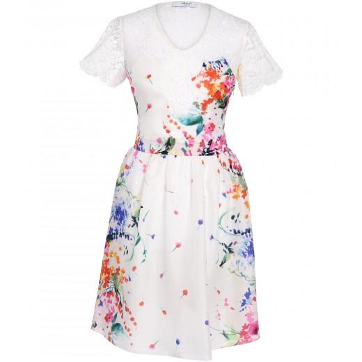 Seidenkleid mit Blumenaufdruck