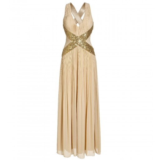 Abendkleid mit Applikation in Gold