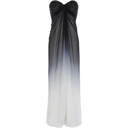 Kleid mit besticktem Bustier in Schwarz-Weiss