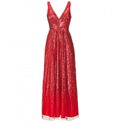 Trägerkleid mit Paillettenverlauf in Rot