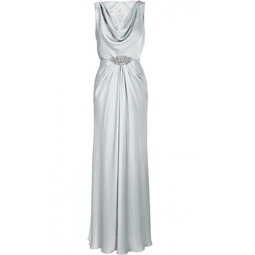 Robe mit transparentem Rückendekolleté in Silber