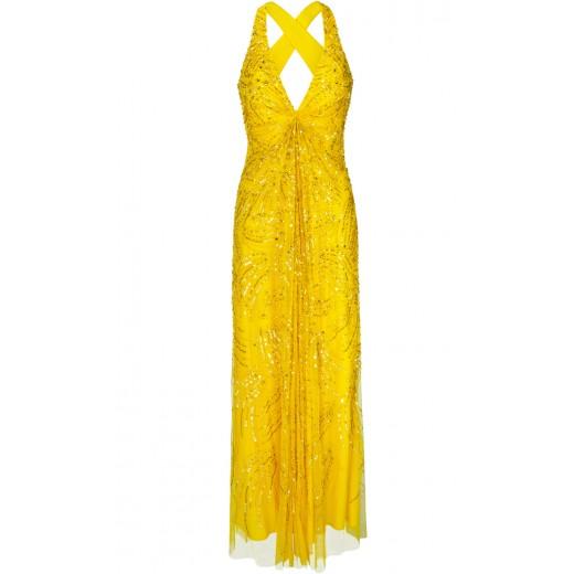 Maxikleid aus besticktem Tüll in Gelb