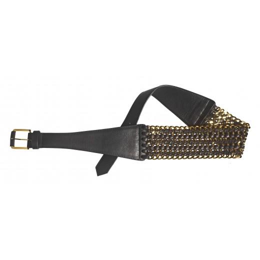 Kettengürtel aus Leder in schwarz/gold