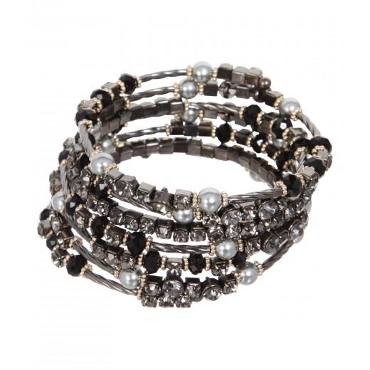 Siebenreihiges Armband mit Perlen
