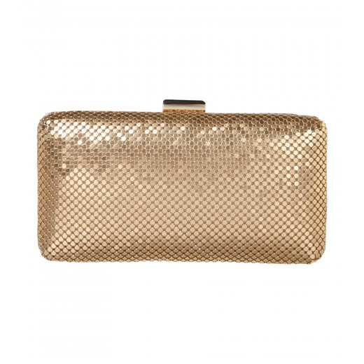 Clutch aus Mesh in Gold