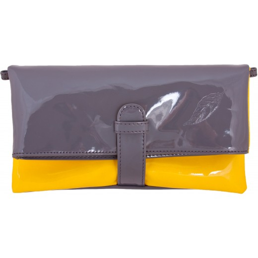 Wende-Clutch in grau/gelb