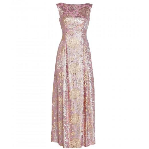 Robe in Rosé mit Gold/Silbernem Blumendekor