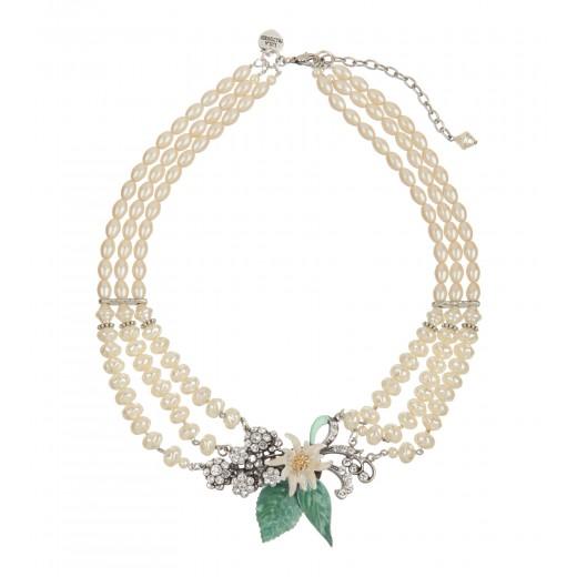 Perlencollier mit Edelweiss