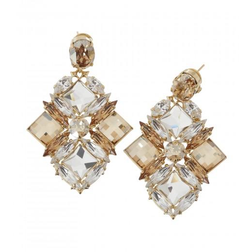 Kristall-Ohrringe in Silber/Gold