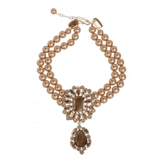 Goldene Perlenkette mit Schmucksteinen