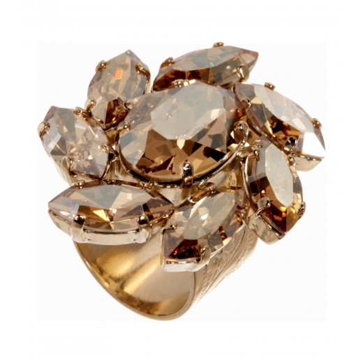 Floraler Schmuckstein-Ring in Gold