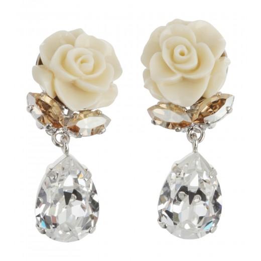 Ohrstecker mit weißer Rose und Swarovski Steinen