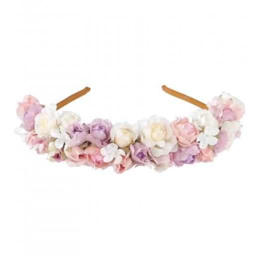Haarreif Heidi mit Blumen in Weiss/Rosé