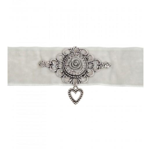 Kropfband in Grau mit Rose