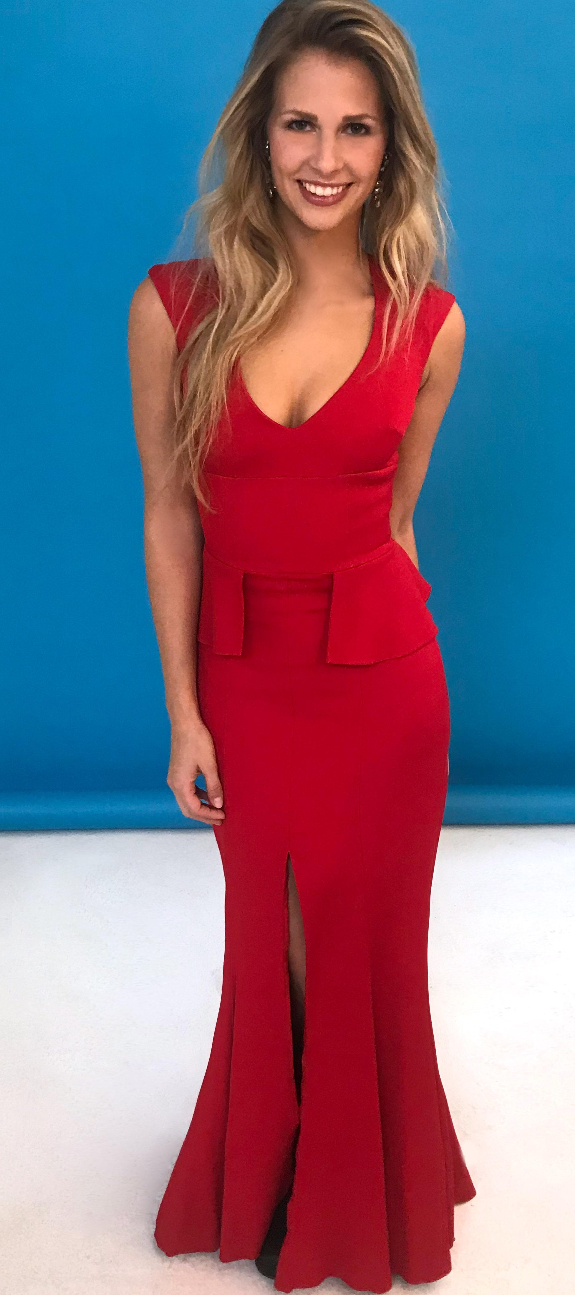 abendkleid mit schösschen in rot