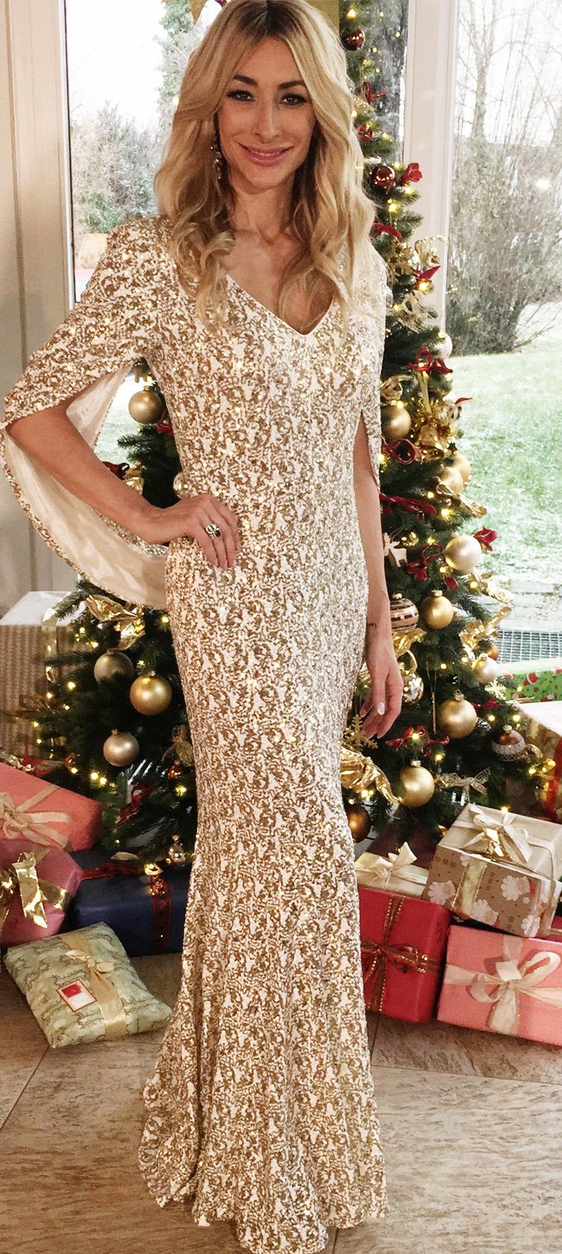 Kleid mit Cape in Gold/Weiss