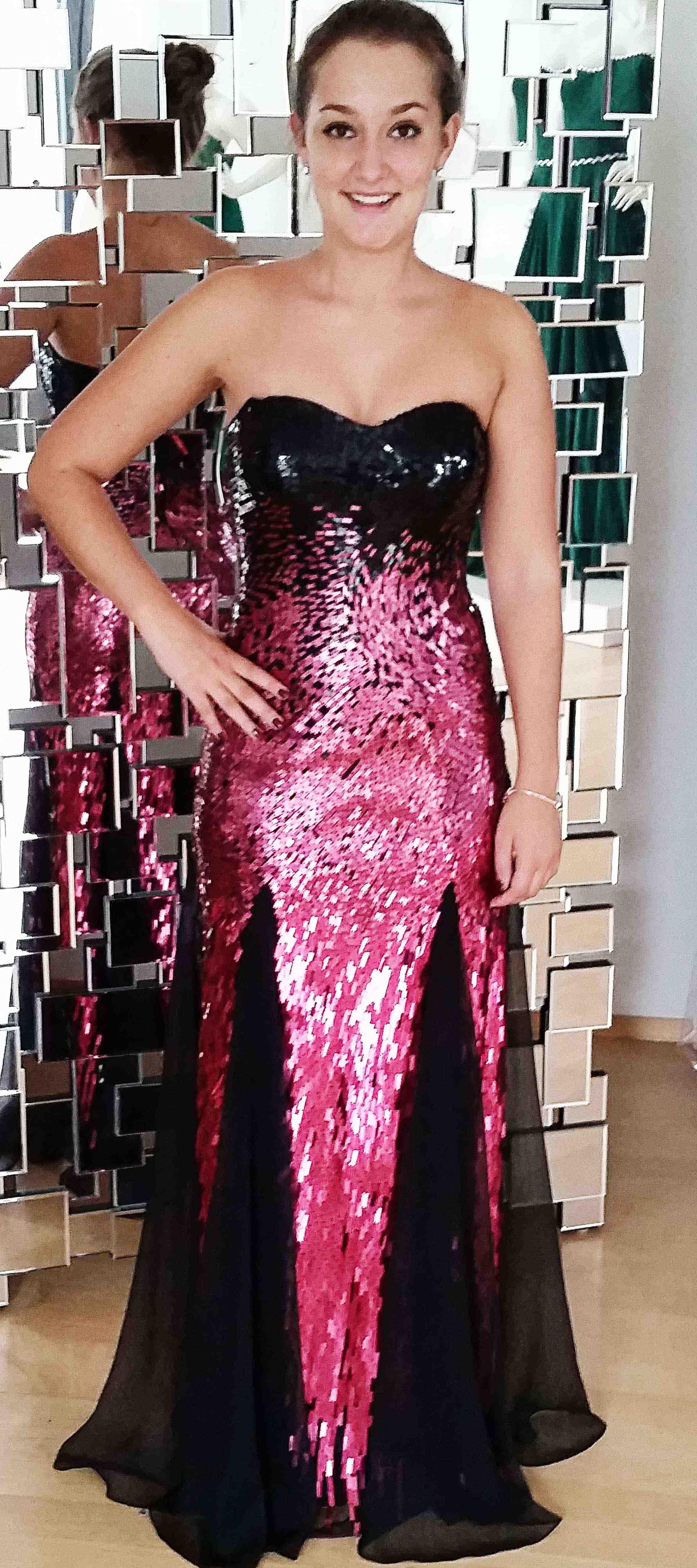 Bodenlanges Bustierkleid mit Pailletten in Pink