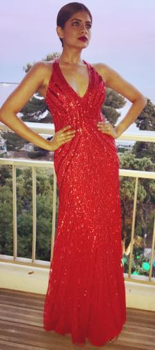 Vishaka´s Paillettenkleid in Rot