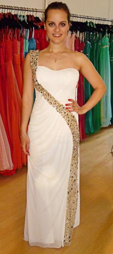 Laura´s One-Shoulder-Kleid in Weiss